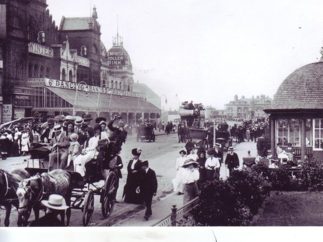 WINTER GARDENS: A scene on the bustling promenade near the theatre in 1910.