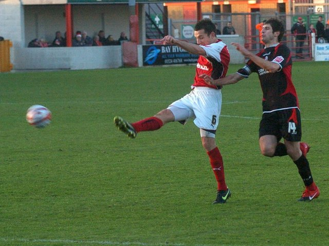 Craig Stanley finds the net for the Shrimps