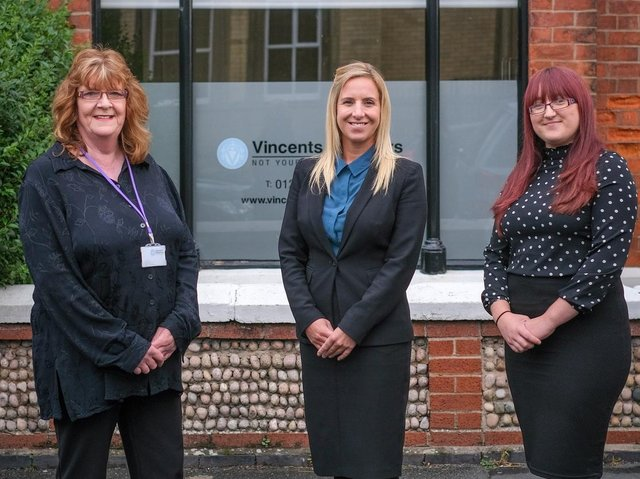 Donna Matthews, head of Vincents Solicitors new probate team, with Karen Cooper (left) and Amy Whiteside (right).
