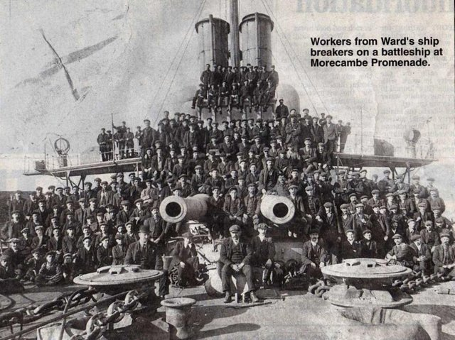 During World War I and for several years afterwards the main source of employment in Morecambe was the shipbreakers' yard at the old harbour (Stone Jetty).  It was owned by Wards and their football team was one of the best in the North Lancashire & District League.  This is the team which won the Division II championship in season 1919-20 and the majority of young men in the photograph have been named with the exception of one on the back row. Back row from left: George Bland, Tom Holding, Jim Cartmel, Tom Woodhouse, Billy Elkin, Fred Dixon, George Rowe, Tom Siddle, Casey Binns, Walter Spencer, Sammy Randles, Len Dixon, Colin Mayor Middle row from left: Harry Stephenson, Dan Woodhouse, Jimmy Willacy Front row from left: Tom Hayton, Jack Thornton, Fred Woodhouse, Ted Helme, Fred Fisher.
