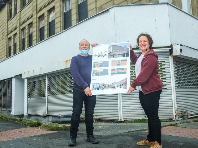 WEM chairman Chris Price with Beki Melrose, director at The Exchange, outside the old Co-op building known as Centenary House.
