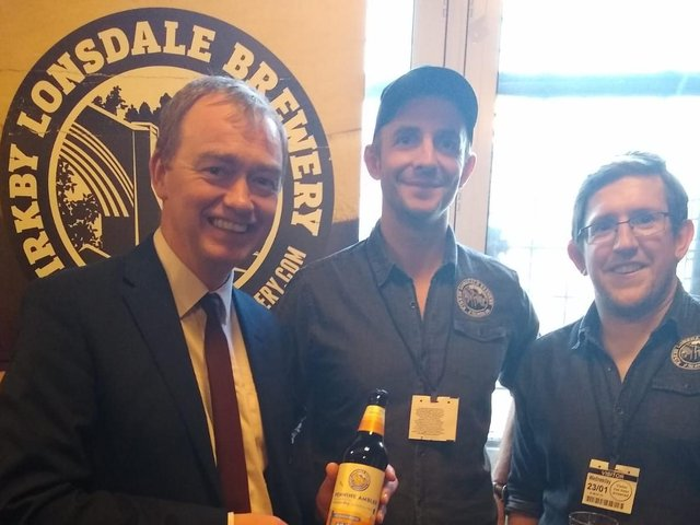 Tim Farron with the team from Kirkby Lonsdale Brewery during Cumbria Day in Parliament last year.