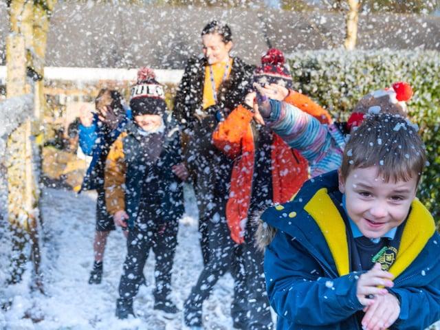Pupils at Kirkland and Catterall St Helen's school enjoy the snow Photo: Kelvin Stuttard