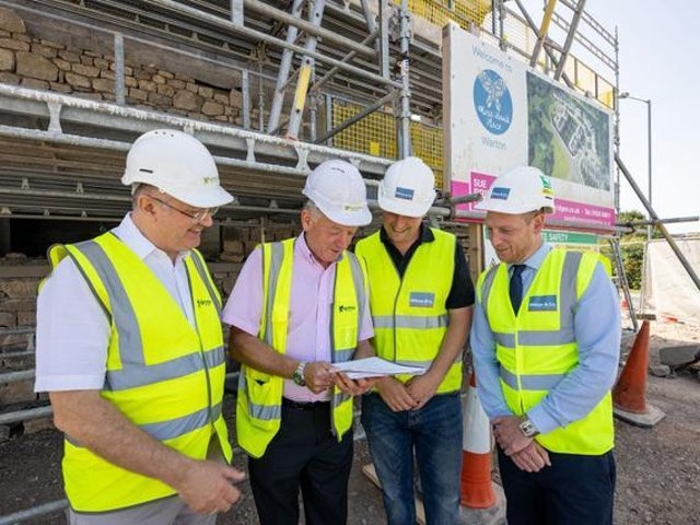 Wilson & Co Properties Ltd with The Guinness Partnership on site during the build process. Pictured is Wilson & Co Properties Ltd - Byron Wilson Director; Wilson & Co Properties Ltd - Jason Brown Site Manager; The Guinness Partnership - Paul Waton MBE Managing Director; The Guinness Partnership - Robert Murphy Clerk of works.