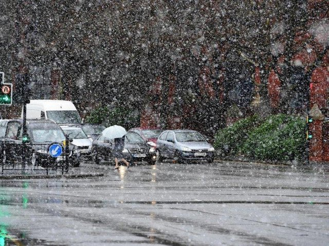 1-2cm of snow may also fall in areas above 200 metres.