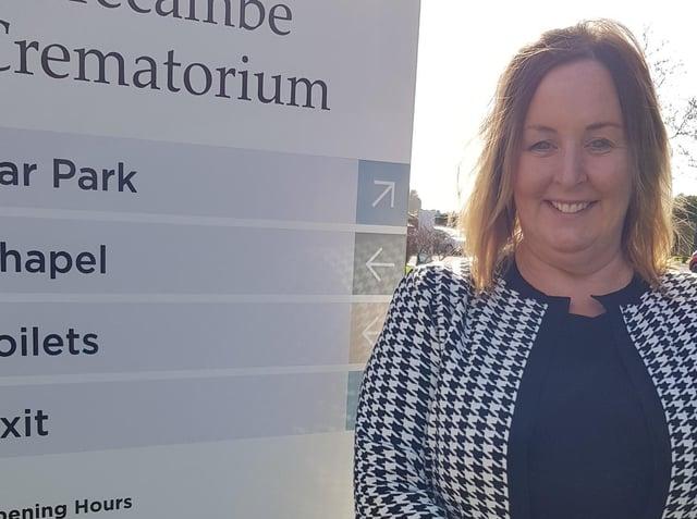 Sue Newbold at Lancaster and Morecambe Crematorium.