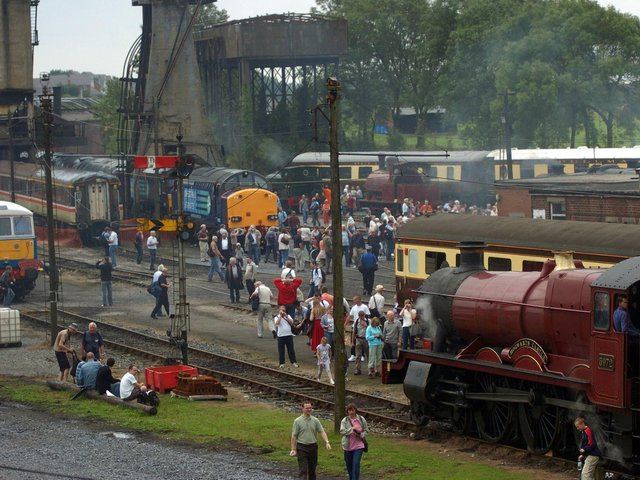 Reminiscent of the old Steamtown days, Carnforth steam depot comes alive during an open weekend, with crowd-puller, the Hogwarts Express train in the foreground.