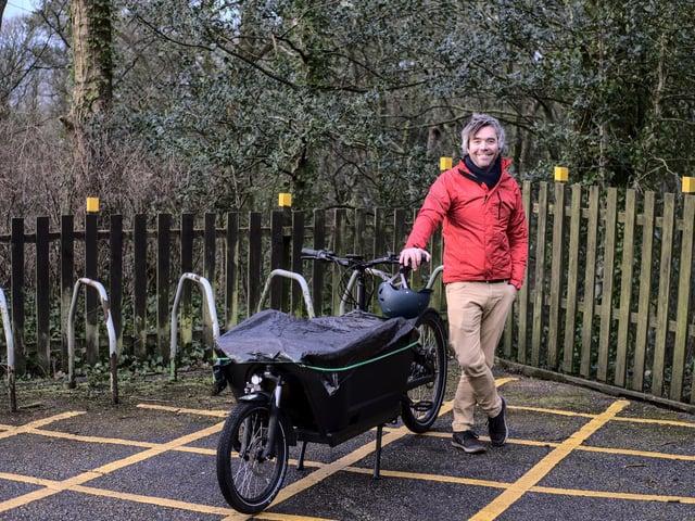 Jack Lenox with the new cargo bike.