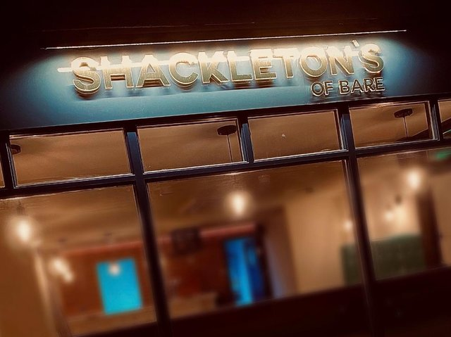 The signage at Shackleton's of Bare, in Princes Crescent, is now up.