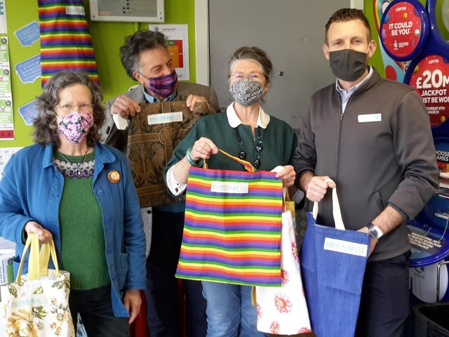 The launch of the morsbag display at the Co-op. Clare Hyde is pictured first from left.