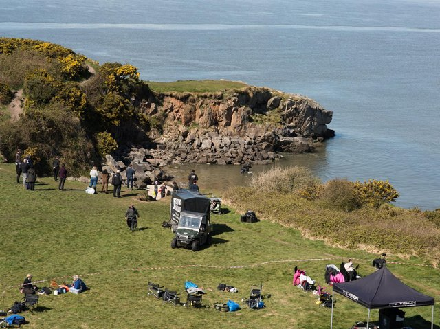 Filming under way on Heysham Barrows for The Bay. Photo by Janet Packham.