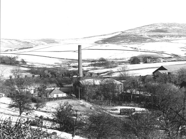 Oakenclough Mill in winter 1960, workers were often stranded at the mill following heavy snow