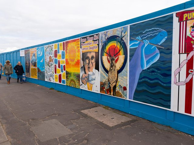 Colourful artwork has recently been installed along the site boundary.
