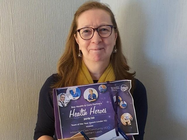 Georgina Livingstone, joint winner of Team of the Year (under 10 people), at the Bay Health and Care Partners 2019/20 Health Heroes awards.