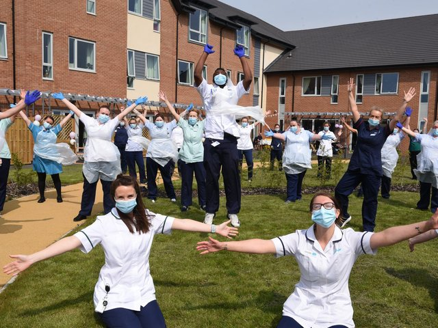 Now we are one - staff at the Sue Ryder Neurological Care Centre in Fulwood, Preston, celebrate their first anniversary                             Photo: Neil Cross