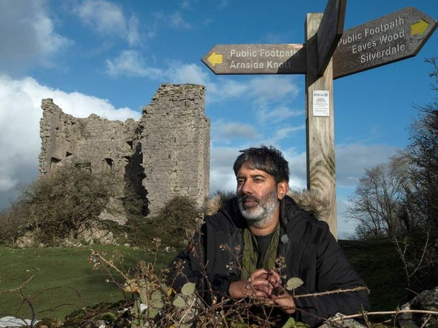Nihal Arthanayake during the filming for Villages by the Sea in Arnside. Photo: BBC