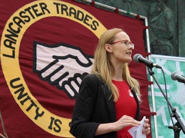 Lancaster MP speaking at a previous May Day march in Lancaster.