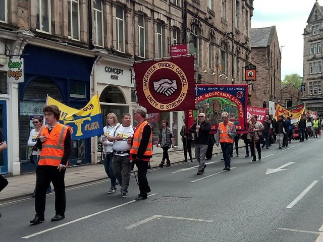 Lancaster and Morecambe TUC May Day March 2017.