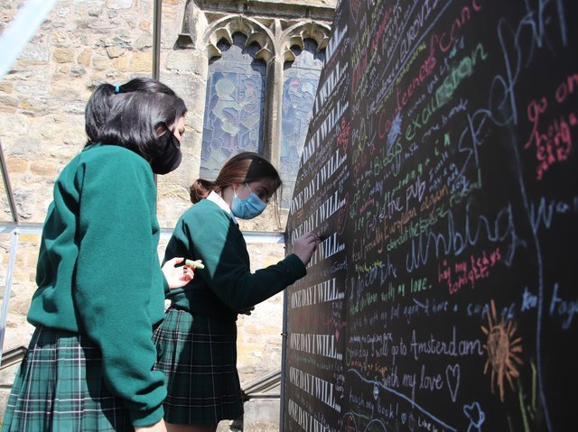 The 'One Day I Will' art installation at St Mary's Church Kirkby Lonsdale helps the community reflect together on the impact of Covid-19 on their lives.