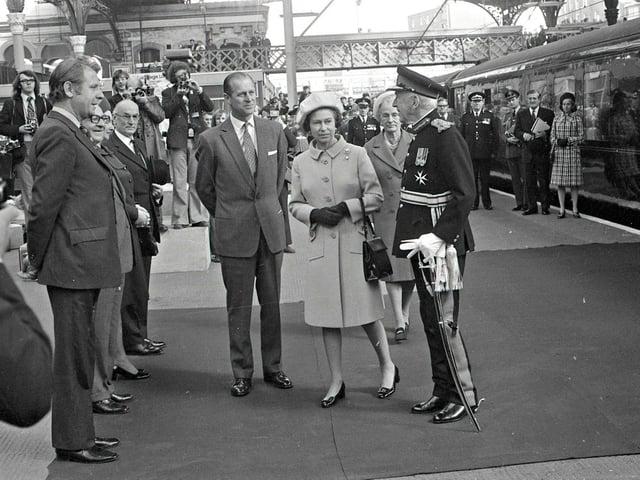 HM The Queen and HRH The Duke of Edinburgh arrive at Preston Railway Station