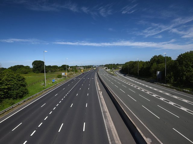 An empty M6 on May Bank Holiday weekend in 2020