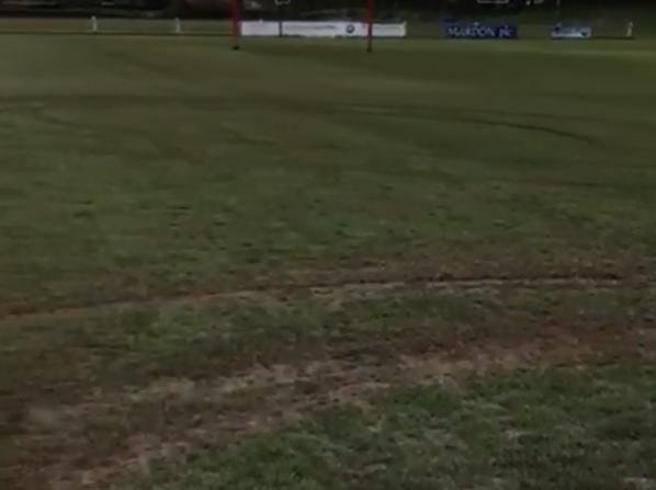 Some of the damage caused to the Vale of Lune RUFC pitch.