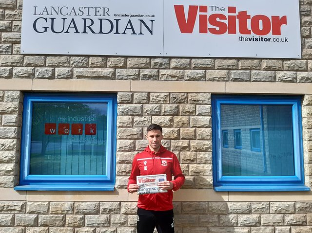 Morecambe midfielder John O'Sullivan at the Visitor office ahead of this weekend's crucial match.
