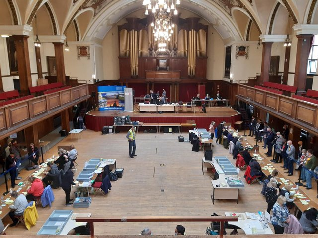 The count under way at Lancaster Town Hall.