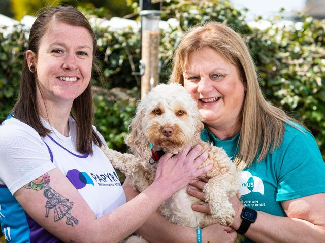 Jo Towers (right) with Stacey Agnew and Jo's cockapoo Micha.