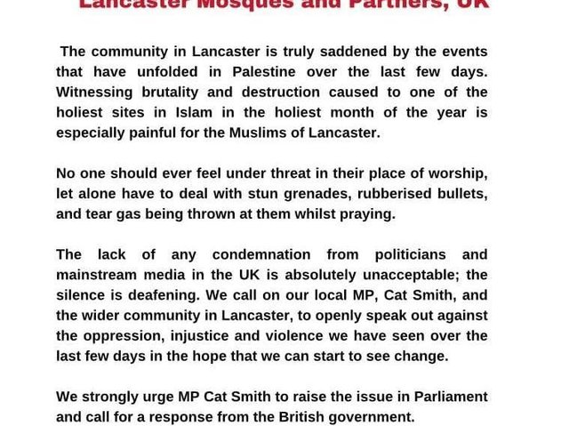 The statement was signed by several Islamic groups and societies in Lancaster.