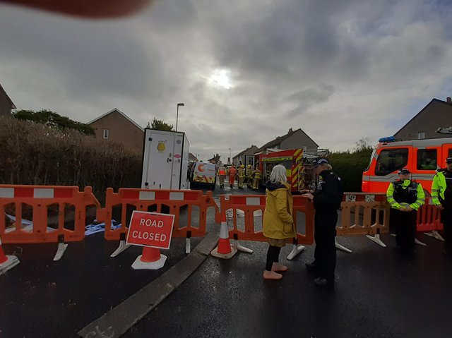 The scene of a suspected gas explosion in Heysham has been cordoned off. Picture by Debbie Butler.