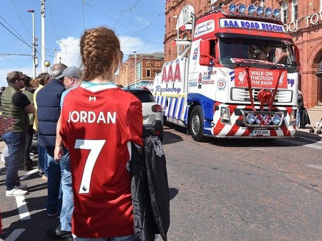 The convoy in tribute to Jordan Banks on Blackpool Promenade today