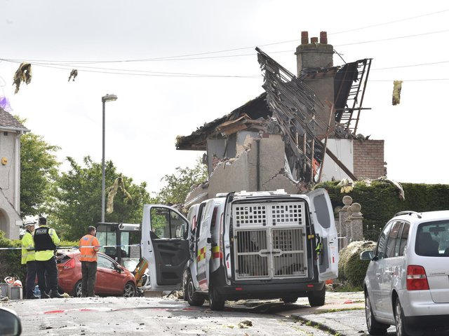 The explosion site in Mallowdale Avenue on Sunday.