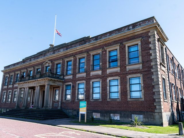 The Union Flag at half mast at Morecambe Town Hall.