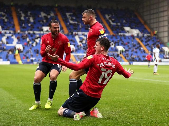 Liam McAlinden celebrates his winning goal