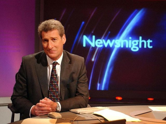 Jeremy Paxman on the Newsnight set in June 2002 (Picture: Jeff Overs/PA Wire)