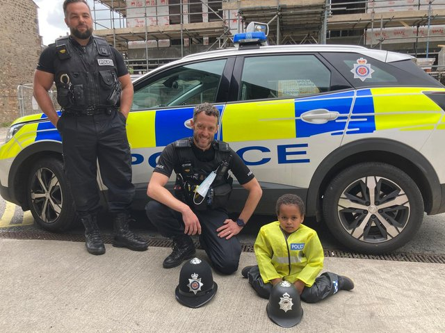 Noah with PC James Hodgson and PC William Nelson.