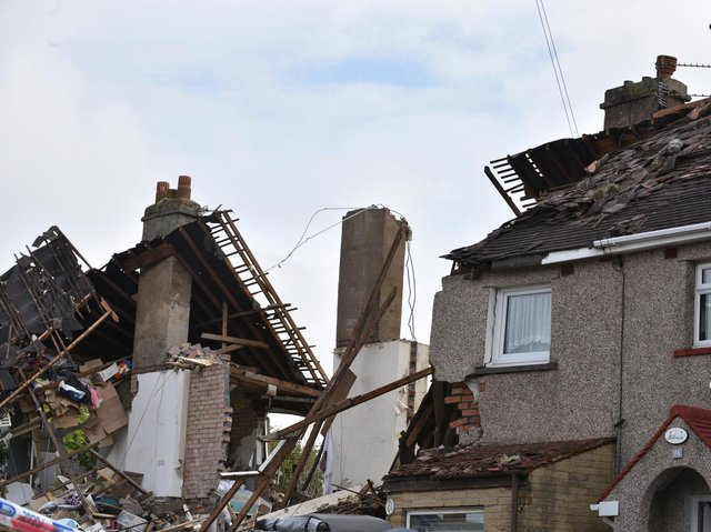 The aftermath of the explosion in Mallowdale Avenue, Heysham.