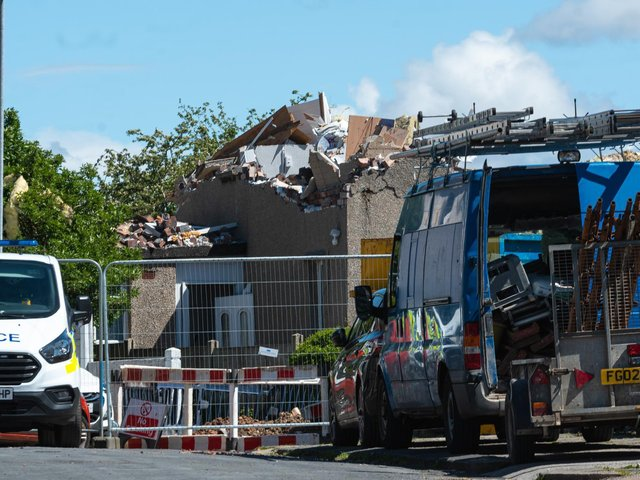 The aftermath of the gas explosion in Mallowdale Avenue, Heysham, on May 16.