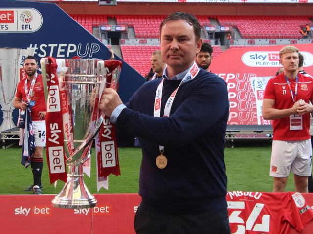 Derek Adams guided Morecambe to promotion on Monday