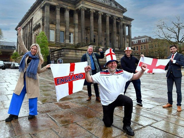 England fans are set to gather on the Flag Market - but will be socially distanced for at least the first two screenings of the team's group games (pictured:  Mike Pixton, centre, with Serena Baxter, Paul Harrison, Paul Butcher and Richard Fontana)