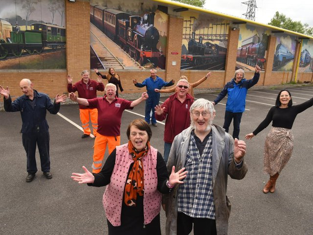 Staff and volunteers at Ribble Steam Railway & Museum celebrate the eye-catching  murals and plans for the future.