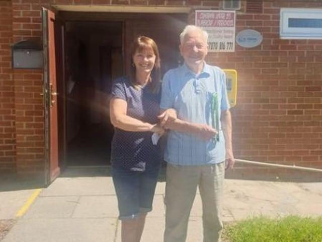 George Birkett and Julie Davey on handover day.