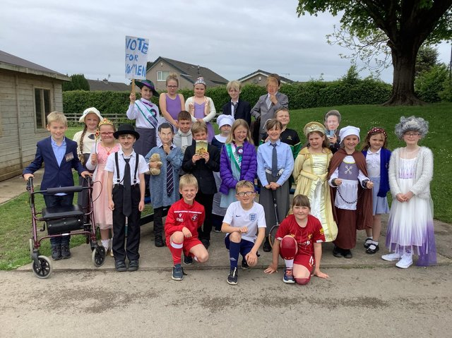 Some of the children at Wilson's Endowed Primary School dressed up as part of their British Values Week. Photo: Darren Newiss