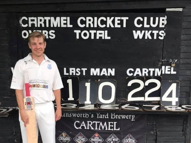 Bob Davies pictured after his hundred