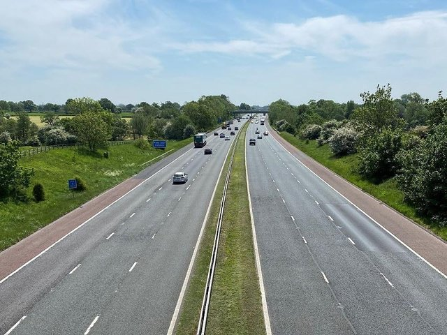 Large sections of both the northbound and southbound carriageways along the 13-mile section of the M6 between junction 32 and junction 33 are being resurfaced. Photo: Highways England