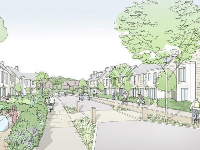 An artist's impression of how part of the Bailrigg Garden Village scheme might look.