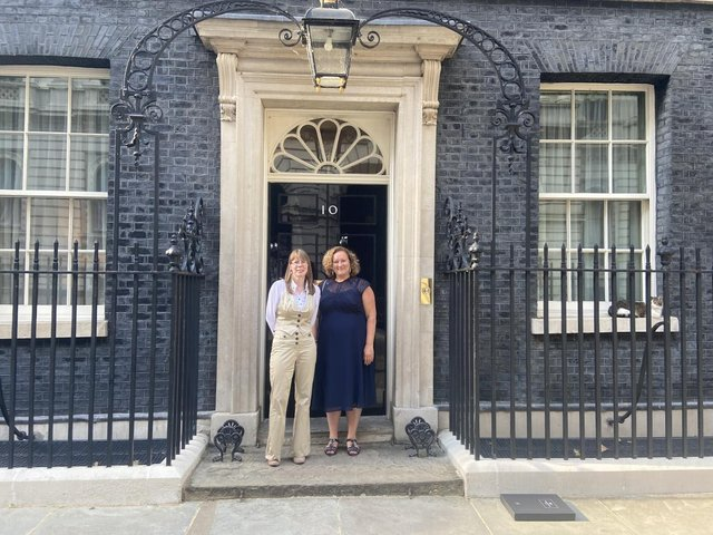 Mrs Rogerson and Mrs Worthington at 10 Downing Street.