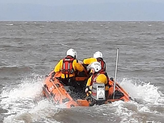 Morecambe's inshore lifeboat was launched to rescue a jet skier in difficulty near The Battery.