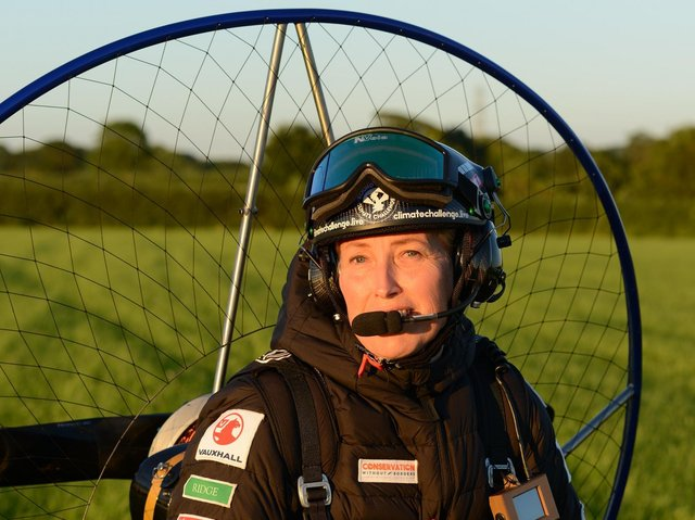 Sacha Dench, also known as the Human Swan, will be visiting the Eden Project North site in Morecambe as part of the Round Britain Climate Challenge, her daring paramotor flight to circumnavigate Great Britain.
